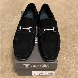 Stacy Adams Ellston Black Suede Loafers Size 9